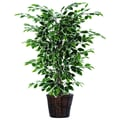 Vickerman 4' Artificial Ficus Bush In Decorative Rattan Basket, Dark Green/Variegated