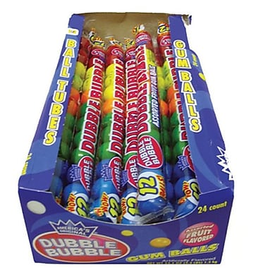 Dubble Bubble Assorted 12 Ball Tubes, 24 Tubes/Box