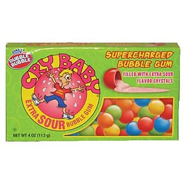 Cry Baby Extra Sour Bubble Gum 4 oz. Theater Box, 12 Boxes/ order