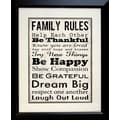 Diamond Decor in.Family Rules Be Happyin. Framed Print Art, 19in. x 23in.