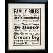 "Diamond Decor ""Family Rules Be Happy"" Framed Print Art, 19"" x 23"""