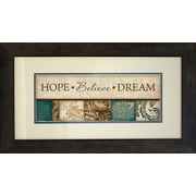 "Diamond Decor ""HOPE Believe DREAM"" Professionally Framed Print Art, 28"" x 16"""