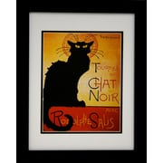 "Diamond Decor ""Vintage the Black Cat Chat Noit"" Professionally Framed Poster Print Art, 13"" x 16"""