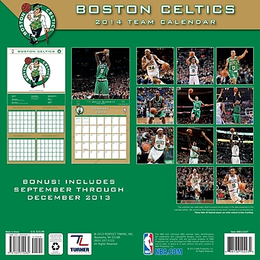 Turner Licensing® Boston Celtics 2014 Team Wall Calendar, 12in. x 12in.