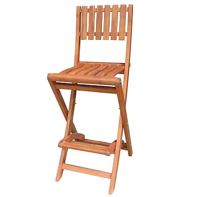 """""International Concepts Acacia 29.2"""""""" Wood Oiled Barheight Folding Stool"""""" 229167"