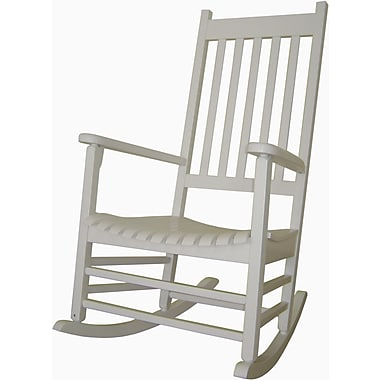 International Concepts Solid Poplar Wood Porch Rocker Chair, White