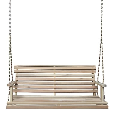 International Concepts Acacia Wood 2 Person Folding Swing, Unfinished