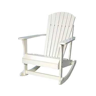 International Concepts Solid Wood Adirondack Rocker Chair, White