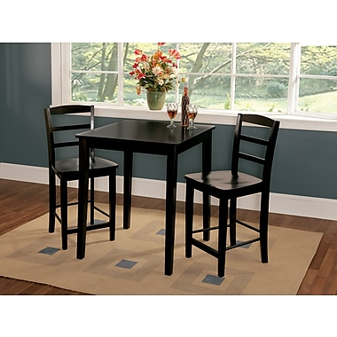 International Concepts 36in. Wood Gathering Height Table W/2 Madrid Stools, Black