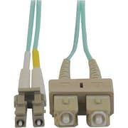 Tripp Lite N816-01M 1m SC/LC Male/Male 50/125 OM3 Duplex Multimode Fiber Optic Patch Cable, Aqua