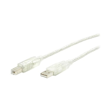 4XEM™ 15' Hi-Speed USB 2.0 A/B Cable, Transparent