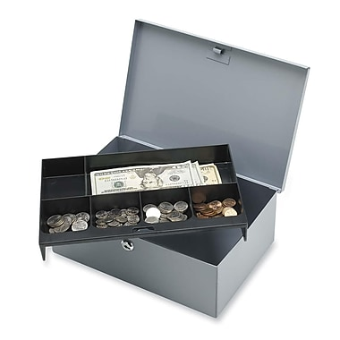 Sparco All-Steel 6-Compartment Tray Cash Box, 4-1/4