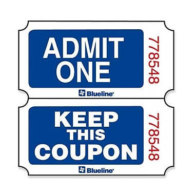 Blueline Admit One With Coupon Ticket, Blue, English, 2000/Roll