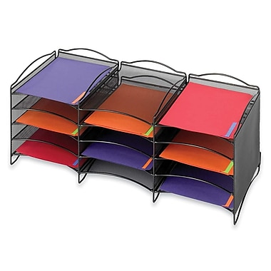 Safco Onyx Mesh 12-Compartment Desktop Organizer, 11-3/10