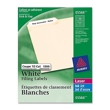 Avery White Inkjet File Folder Labels, 21/32