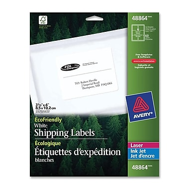 Avery EcoFriendly White Laser/Inkjet Mailing Labels, 4