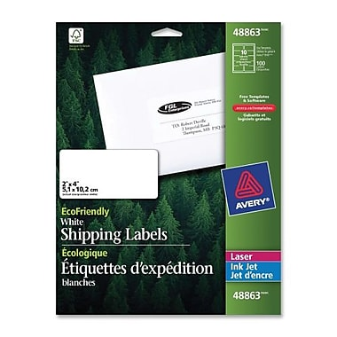 Avery EcoFriendly White Laser/Inkjet Mailing Labels, 2