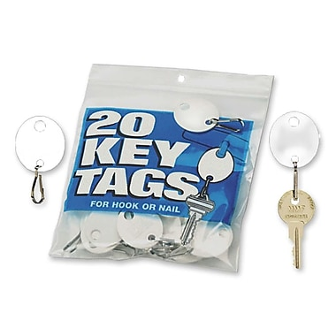 MMF Hook Style Oval Key Tags, White, 20/Pack