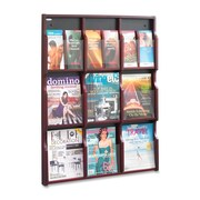 "Safco Expose Customizable 9-18 Compartment Literature Rack, 38-3/10"" x 29-4/5"" x 2-1/2"", Mahogany"