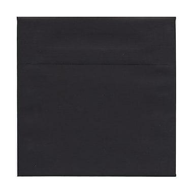 JAM PaperMD – Enveloppes carrées en lin avec fermeture gommée, 7 1/2 x 7 1/2 po, noir, 100/paquet