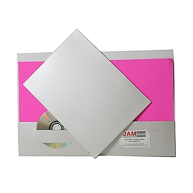 Jam® 9in. x 12in. Pinstripe Two Pocket Presentation Folder, Alabaster Off-White, 100/Box