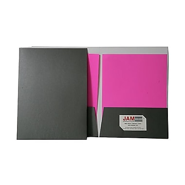 Jam® 9in. x 12in. Pinstripe Two Pocket Presentation Folder, Slate, 100/Box