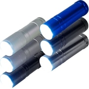 Whetstone™ Aluminum 9 LED Flashlights With Batteries, Black/Silver/Blue/Pearl, 6/Pack