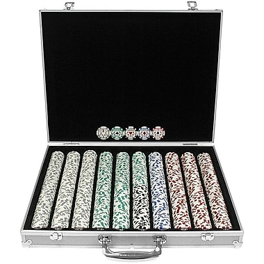 Trademark Poker™ 1000 Chip 11.5gm High Roller Set With Aluminum Case, Brilliant Silver