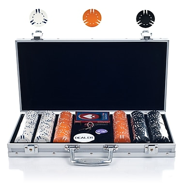 Trademark Poker™ 300 Striped Soprano Chip Set With Aluminum Case, White/Black/Orange