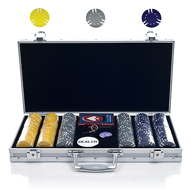 Trademark Poker™ 300 Striped Soprano Chip Set With Aluminum Case, Gray/Yellow/Purple