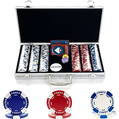 Trademark Poker™ 300 Holdem Poker Chip Set With Aluminum Case, Brilliant Silver