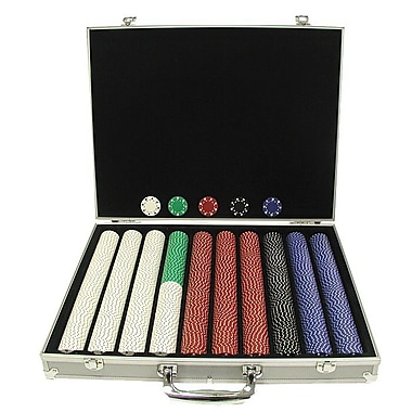 Trademark Poker™ 1000 Suited Design Poker Chips With Aluminum Case, Brilliant Silver