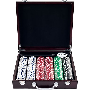 Trademark Poker™ 300 Dice Striped Chips With Cigar Tray Case