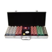 Trademark Poker™ 500 Dice-Striped Poker Chips With Aluminum Case, Brilliant Silver