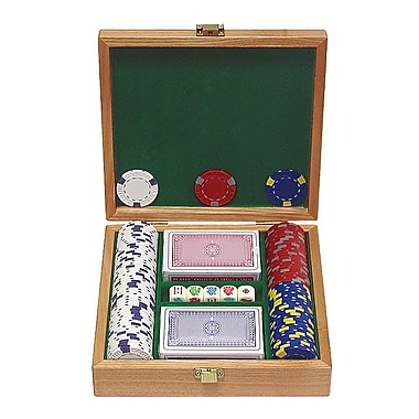 Trademark Poker™ 100 Pro Clay Casino Chips With Beautiful Solid Oak Case