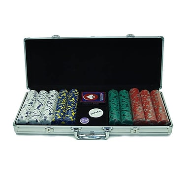 Trademark Poker™ 500 Pro Clay Casino Chips With Aluminum Case, Brilliant Silver