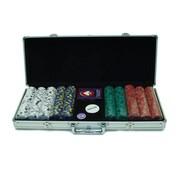 Trademark Poker™ 500 Pro Clay Casino Chips With Aluminum Case, Brilliant Silver