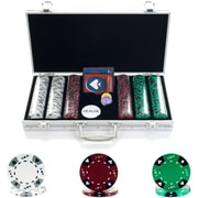 Trademark Poker™ 300 Tri Color Ace Suited Chips With Aluminum Case, Brilliant Silver