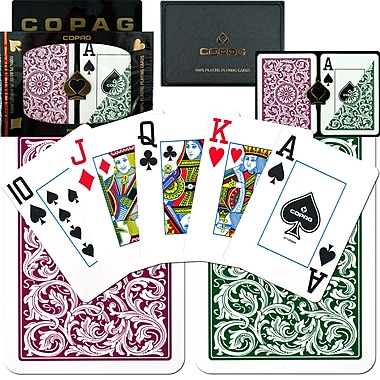 Copag Poker Size Jumbo Index Card, Green/Burgundy