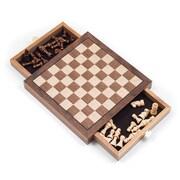 Elegant Inlaid Wood Chess Cabinet With Staunton Chessmen