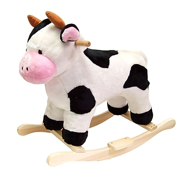Happy Trails™ Plush Rocking Cow, White/Black/Pink