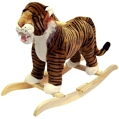 Happy Trails Plush Rocking Tiger, Black/Gold