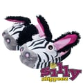 Silly Slippeez Glow in the Dark Lucky Zanny Zebra Slipper, Medium