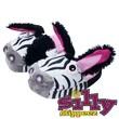 Silly Slippeez Glow in the Dark Lucky Zanny Zebra Slipper, Extra Small
