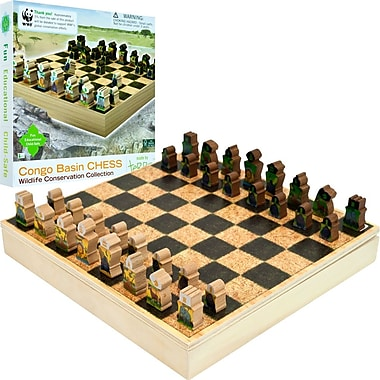 WWF Zoo Animals Wood Chess Set