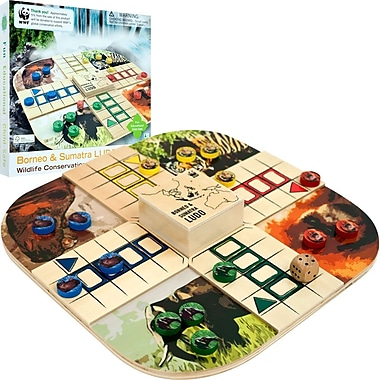 WWF Zoo Animals Ludo Wood Board Game