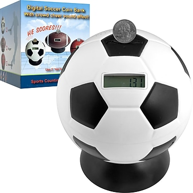 Trademark Games™ Soccer Ball Digital Coin Counting Bank, White/Black