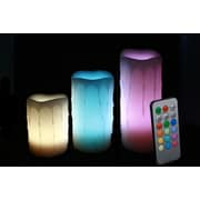 EcoGecko 3 Set Round Melted Edge Wax Drip Effect MultiColor Flameless Wax Pillar Candles With Remote