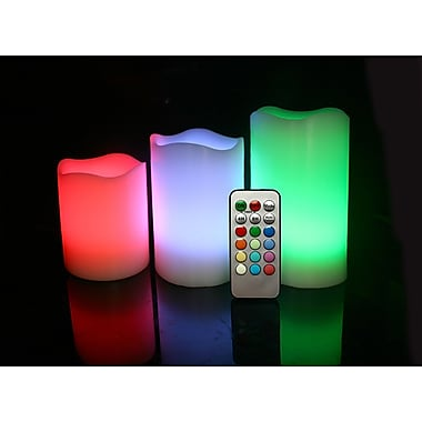 EcoGecko 3 Set Round Melted Edge Wax Changing MultiColor Flameless Wax Pillar Candle With Remote