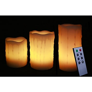 EcoGecko 3 Set Round Melted Edge Wax Drip Effect LED Candle With Remote